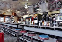 Athens Diner, Colchester, VT. A beautiful, classic diner interior. Love the colors.