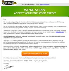 Running a business also involves making mistakes with your clients. Here's a good example of a small storm GoDaddy had this week and how they handled the apology using email. #email #poweredbyom