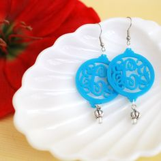 Modern monogram acrylic earrings