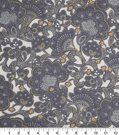 Keepsake Calico Cotton Fabric-Large Floral Gray