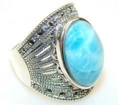 Lovely Blue Larimar Sterling Silver Ring s. 8