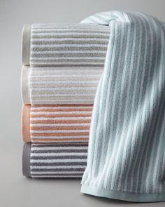 "Kassatex ""Linea"" Towels - Neiman Marcus.  Sea Foam and grey.  $30  Long-staple combed Turkish cotton. 650 gram.  http://www.neimanmarcus.com/Kassatex-Linea-Towels/prod131630044___/p.prod?icid=&searchType=MAIN&rte=%252Fcategory.service%253FNtt%253Dbath%252Btowel%2526pageSize%253D120%2526No%253D0%2526refinements%253D&eItemId=prod131630044&cmCat=search"