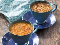 Vanilla crème brûlée • Cream, eggs and sugar combine to create the heavenly custard at the heart of this popular baked custard dessert. The caramelised sugar topping adds a delicious crunch.