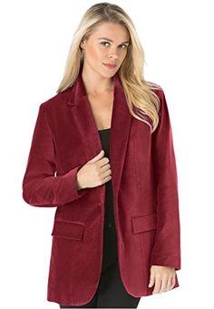 Roamans Women's Plus Size Velvet Boyfriend Blazer (Burgundy,18 W) Roamans http://www.amazon.com/dp/B00QTZGGAI/ref=cm_sw_r_pi_dp_pnZ5vb0WD1Y5H