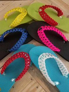 Any color and size flip flop and any color Paracord Crochet Slipper Pattern, Crochet Shoes, Crochet Slippers, Crochet Patterns, Beaded Flowers, Crochet Flowers, Flip Flop Craft, Crochet Flip Flops, Decorating Flip Flops