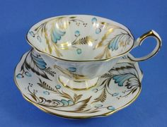 Queen Anne Gold Handpainted Blue Design Tea Cup and Saucer Set