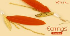Orange Feather Gold Toned Earring Pair PRODUCT CODE:	369431 #red #world #beauty #alexandani #color #matchesfashion