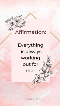 What if you created a new belief that everything is always. Working out for you? Positive Affirmations For Anxiety, Positive Mantras, Morning Affirmations, Positive Words, Daily Affirmations, Positive Mindset, Self Love Quotes, Happy Quotes, Typed Quotes