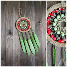 """Diameter 11 cm (4.3 inch), length 23 cm (9 inch)    Materials: lawanit, glass, coral, yarn - cotton, feathers, wood beads    Dreamcatcher, dream catcher (angl. inanimate form word """"spider"""", or """"trap dreams"""") — Indian talisman that protects the sleeper from evil spirits. Bad dreams become entangled in a cobweb, and good slip through the hole in the middle.    You can hang the dream catcher in the nursery, bedroom, living room and even on the veranda.    Let me know if you want the…"""