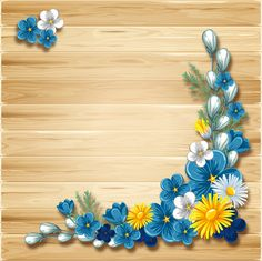 Blue flower corner decor with wooden background vector - WeLoveSoLo Frame Border Design, Boarder Designs, Flower Background Wallpaper, Flower Backgrounds, Wooden Background, Flower Frame, Flower Art, Bamboo Roof, Boarders And Frames