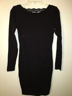 Moda International XS Black Bodycon Dress Deep V-Back Lace Knee Length #ModaInternational #StretchBodycon #Clubwear