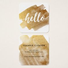 #makeupartist - #MODERN HELLO SCRIPT luxe gold brush stroke Square Business Card