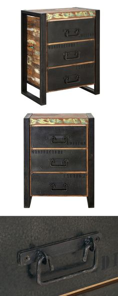 Rich with character, this charming nightstand will surely inspire colorful dreams. Made from multi-colored wood with sleek metal framing and drawer faces, this Alexeieff Nightstand is well suited for m...  Find the Alexeieff Nightstand, as seen in the Nightstands Collection at http://dotandbo.com/category/furniture/bedroom/nightstands?utm_source=pinterest&utm_medium=organic&db_sku=114733