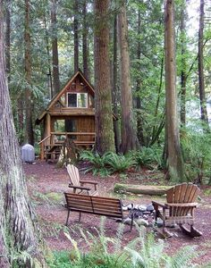 log cabin cottage in the woods Tiny Cabins, Cabins And Cottages, Log Cabins, Mountain Cabins, Little Cabin, Little Houses, Tiny Houses, Cabin In The Woods, Log Cabin Homes