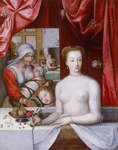 """""""Gabrielle d'Estrées' bath"""" French School via Wikimedia Commons. Gabrielle D'estrées, Renaissance, Jean Antoine Watteau, Cultura General, Sea Art, Female Portrait, Historical Clothing, 16th Century, Oeuvre D'art"""