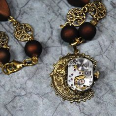 Gears n Lace Steampunk Watch Pendant Necklace