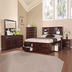 4 Pcs Modern Espresso Storage Bookcase Headboard Captains Queen King Bedroom Set