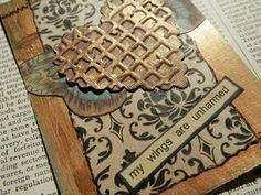 OOAK ACEO ATC collage and ink My Wings Are by PaperPastiche, $6.00