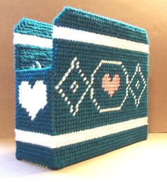 Hearts & Diamonds Napkin Holder by gailscrafts Plastic Canvas Crafts, Plastic Canvas Patterns, Tent Stitch, 4 Ply Yarn, Napkin Holders, Diamond Heart, Key Chains, Diamond Pattern, Kitchen Stuff
