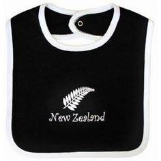 Babies Bib Ferns Black with white trim. Popper button at back. Large fern in white in the middle of bib with larger font 'New Zealand' written beneath.