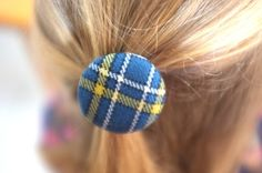 One Large Hair tie // Canberra tartan wool fabric covered buttons 38 mm // girl // toddler // tween // hair accessories