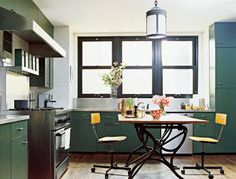 Green and Yellow Kitchen, A bit schoolhouse, a bit arts and crafts?  Would go well in a Berkeley house.