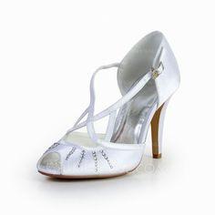 Wedding Shoes - $56.25 - Women's Silk Like Satin Cone Heel Peep Toe Sandals With Buckle Rhinestone (047030269) http://jjshouse.com/Women-S-Silk-Like-Satin-Cone-Heel-Peep-Toe-Sandals-With-Buckle-Rhinestone-047030269-g30269