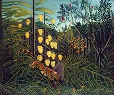 Tropical Forest: Battling Tiger and Buffalo - Henri Rousseau