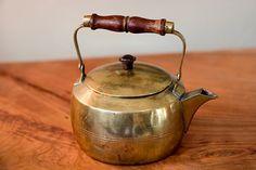 Antique Brass Kettle Teapot with Wooden Handle by blackoakvintage, $48.00