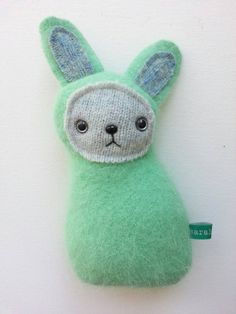 Minty green bunny rabbit plush / upcycled Easter by sarahbrown