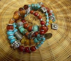 4 Layer Wrap Bracelet Turquoise and Carnelian by Vintagearts