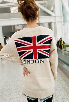 A very patriotic jumper. Find stylish knitwear at http://mandysheaven.co.uk/ - Womens Fashion UK - Cambridge style