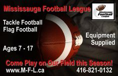 Mississauga Football League Come Play on Our Field! Flag Football Equipment, Tackle Football, Female Athletes, Play, Women Athletes