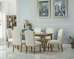 Roundhill Furniture T171 C171ta Monotanian Dining Collection Solid Wood Table With 6 Nailhead Chairs Tan