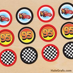 cars cupcake toppers FREE Printable Disney Cars lightning McQueen Cupcake Toppers