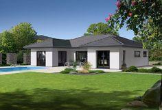 Elegance 135 W - . Der Bungalow Elegance 135 W besticht durch ein modernes und schlichtes Design mit Walmdach. Die weiße Außenfassade und das anthrazitfarbene Walmdach harmon