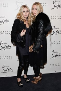 They layer with black leather at the Christian Louboutin cocktail party.   - ELLE.com