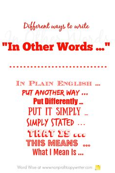 In Other Words: A Simple Phrase for Writing More Powerful Content Paragraph Writing, Opinion Writing, Writing Words, Fiction Writing, Writing Rubrics, Persuasive Writing Techniques, Writing Resources, Blog Writing, Writing Tips