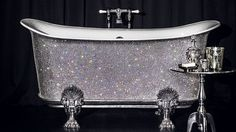 Buy This $200,000 Swarovski-Encrusted Bathtub and Cackle at Your Unfathomable Wealth Clawfoot Bathtub, Bath Tub, Swarovski Crystals, Rye, Claw Foot Bath, Luxury Bath, Harrods, Wealth, Furniture Design