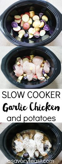 An easy slow cooker dinner to make your life easier! This Garlic Chicken and…
