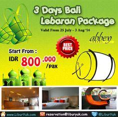 Yuk yang mau menghabiskan #liburan pas hari Raya #Idul #Fitri di #Bali, kini telah tersedia paket 3 Hari Bali – #Lebaran Package dengan harga spesial lho. Buruan booking dan dapatkan diskon tambahannya!  Dapatkan Spesial Paket tersebut dari #LiburYuk http://liburyuk.com/listpackage/3+Days+Bali+-+Lebaran+Package+ #jalan2 #holiday #AbbeyTravel