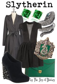 Outfit inspired by the Slytherin House from Hogwarts from the Harry Potter movies!