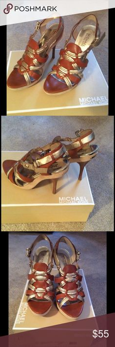 "Artisan Platform Heels Michael Kors Artisan Platform heels.  Leather and metallic, size 7.  Color ""luggage.""  Barely worn, original box. Michael Kors Shoes Heels"