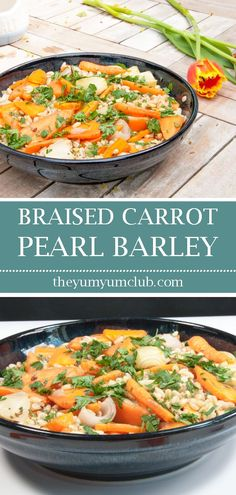 Braised carrot pearl barley salad. A delicious and healthy recipe. Perfect if on a vegan diet or just want a tasty salad at any time. Yum! Yum!  #barley #pearlbarley #braisedcarrot #pearlybarleysalad #barleysalad #braisedcarrotsalad #carrotsalad #healthysalad #vegansalad #vegan