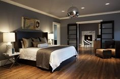 Grey Wall Color Scheme and White Bed Sets in Contemporary Bedroom Design Ideas