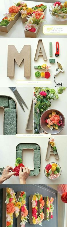 DIY blooming monogram perfect for wedding decor. Use silk or dried flowers in florist foam in the hollowed out craft letter. You also could make wine cork letters or use other decorative items to create a meaningful monogram for the happy couple. Cute Crafts, Diy And Crafts, Arts And Crafts, Decor Crafts, Diy Projects To Try, Craft Projects, Blooming Monogram, Ideias Diy, Deco Floral