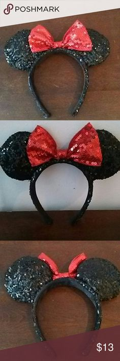 Mickey mouse girls headband Mickey mouse girls headband sequence design black and red mickey mouse Accessories Hair Accessories