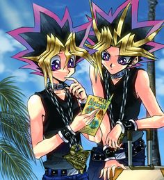 Yami and Yugi trying to find a way in Hawaii. Lol!