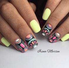 60 Cool Ideas for Fashionable Summer Manicure Nails Summer Nails Summer Manicure nail design Nail Art Ideas cool nail design acrylic nails Nail Manicure, Toe Nails, Uñas Diy, Gel Nagel Design, Nagellack Trends, Girls Nails, Diamond Nails, Stamping Nail Art, Yellow Nails