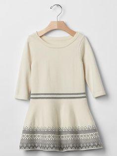 Fair isle border sweater dress
